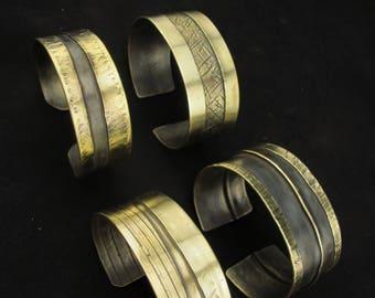 Textured Brass Organic cuff - Wide Bracelet - Metalwork and Dark Patina - Golden metal cuff - Wrap Bracelet - Adjustable