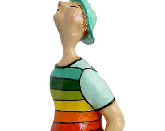 The Wistling Guy, Paper Mache sculpture, Paper Mache art, Home and office décor, handmade Gift, Art sculpture, Shelf decor