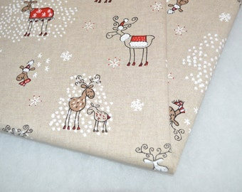 Cute Christmas cotton fabric with reindeers 19.68 x 55.11 inch