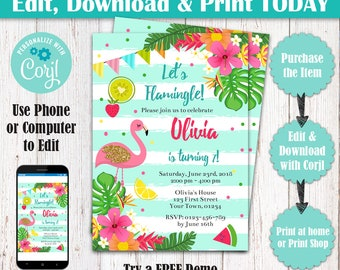 Editable Mint Gold Flamingo Birthday Party Invitation, Flamingo Pool Party Invite, Let's Flamingle Hawaiian Tropical Birthday Invitation