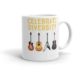 Celebrate Diversity Cool Musician Guitar Mug