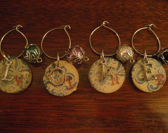 "Wine Glass Charms ""Love Wine"" made with real wine corks, set of 4."