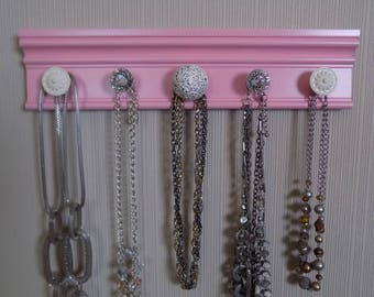 READY TO SHIP Pink Necklace wall rack.This jewelry organizer 5 knobs closet organization Great gift of jewelry storage & decor for mom