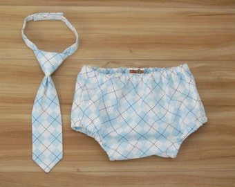 Baby Neck Tie and Diaper Cover in Baby Blue Argyle, Baby Boy Clothing, Baby Boy Cake Smash, Blue and White Birthday