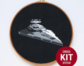 Star Destroyer, Star Wars Spaceship Cross Stitch Kit, StarWars Cross Stitch Easy Kit, Counted Cross Stitch Pattern Instructions