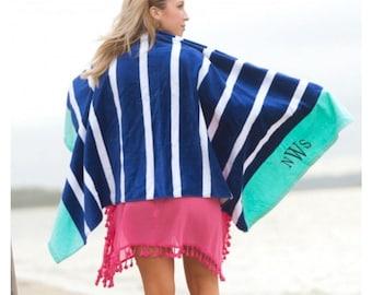 Summer Navy stripe Beach Towel, Personalized Beach Towel, Navy and Mint beach towel