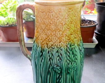 19thC Majolica Cornfield Jug, Victorian Green & Gold Wheat Corn Textured Shabby Chic Pitcher 1880s