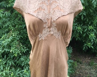 Vintage Antique 30s Golden Silk Lace Blouse Shirt Top Nightshirt Lingerie 6/8 M