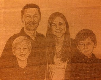 Portrait engraved in 2D on wood.