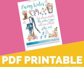 Living Water Bible Journaling Digital Download Printable