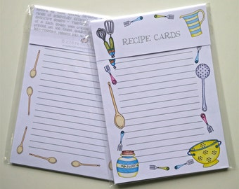 Recipe Cards, Utensils Design - double-sided, A5 size, Pack of 10