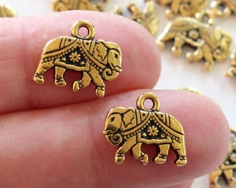 Gold Gita Elephant Charms, 2+ TierraCast Antiqued & Plated Pewter, Lead Free, India Inspired Elephant Bracelet or Necklace Charms