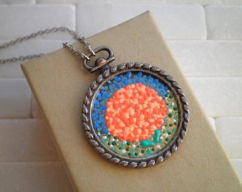 Orange Flower Necklace -Bohemian Hand Painted Dot Art Pointillism Necklace - Retro Hydrangea Flower Jewelry Gift - Tiny Art Floral Necklace