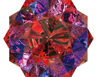 Diamond 002 - purple and red original collage (limited edition giclee print)