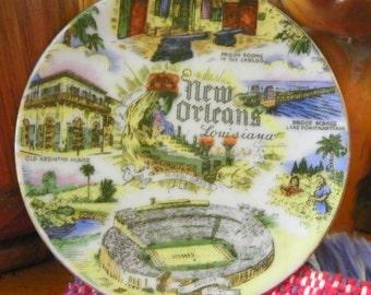 Souvenir Collectible Miniature Plate - New Orleans Louisiana - Prison Rooms Cabildo, Absinthe House, Sugar Bow, Mardi Gras, Pontchartrain