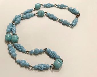 Vintage Blue Plastic Necklace, Funky Retro