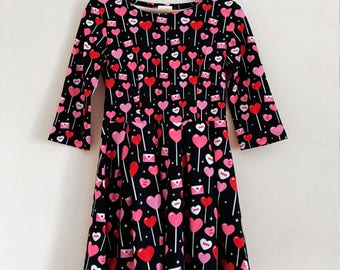 Heart Lollipop Candy 3/4 Sleeve Fit and Flare Dress - Size S-3X - LOVE Valentine's Day