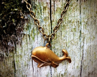 Happy Whale Necklace, ocean fish mammal marine minke beluga conservation blowhole