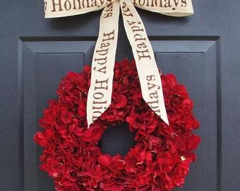 Holiday Wreath, Christmas Wreath, Hydrangea Wreath, Christmas Gift, Winter Wreath, Happy Holidays Red Wreath, Door Wreath