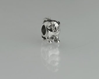Pair of 12mm Sterling Silver Puppy Dog Beads Animal Bead Set of 2
