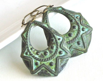 Ornate Patina Hoop Earrings - Boho, Verdigris,  Brass, Bohemian