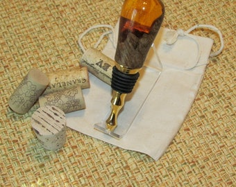 Bottle Stopper, Burl/Acrylic, Orange Crush, Vintage Titanium Gold, Wine Stopper