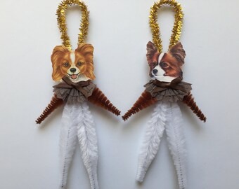 PAPILLON ornaments dog ORNAMENTS vintage style chenille ornaments set of 2