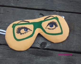 Personalized Cotton Hand Painted Sleeping Mask,Eyes and glasses sleeping mask,Sleep mask,Eyemask,Eyewear,Funny sleep mask, Eyeglasses Design