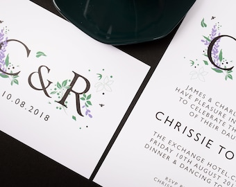 Lavender Save the Date | Wedding Invitations | | Modern Wedding Stationery | Monogram | Contemporary Wedding Invites | Initials