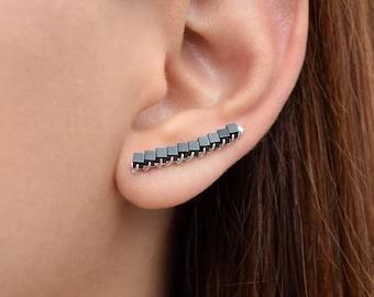 Black earcuffs, black ear cuff earrings, black ear crawler earrings, unusual earrings, hypoallergenic earrings