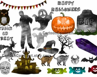 "Watercolor Halloween Clipart: ""HALLOWEEN CLIP ART"" Halloween kids,Cute Halloween,Bat clipart,Halloween monsters, Cute Witch,Black Cat,Invite"