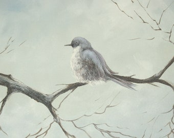 Vintage Original Signed Bird Painting Unframed Acrylic on Canvas Bluebird on Branch