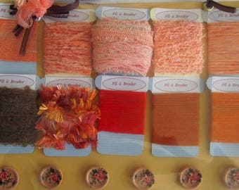 Embroidery thread. Embroidered set / Kit 9: shades of color brick for these pretty tags.