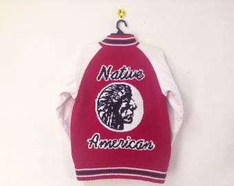 Rare!!! Native American Jacket Full Zipper Red Indians Size Medium