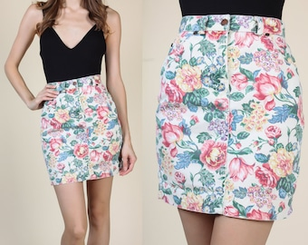90s Floral Denim Skirt // Vintage Mini Jean Pencil Skirt - Extra Small XS