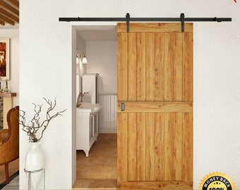 8 Foot Sliding Barn Door Hardware Kit - Frosted Black - 2 Day Shipping (at no extra cost)
