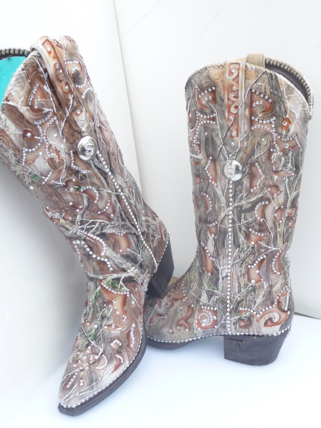 Custom Hand painted Camouflage Bling Wedding Bridal Boots