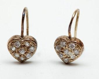 Pierced Rhinestone Earrings - Heart Shaped