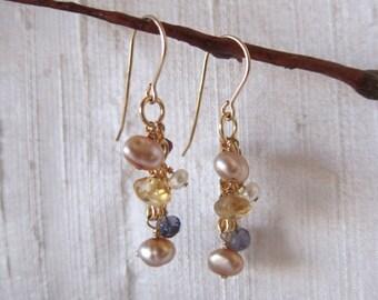 Citrine, Iolite, Pearl 14K Gold Filled Handmade Earrings