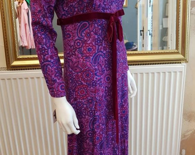 Vintage 70s Purple Psychedelic Paisley Print Velvet Maxi Dress Vtg 1970s M
