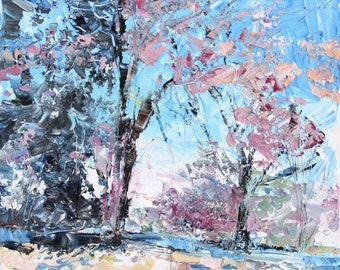 New England Landscape No.43 original oil painting, 12x12inches