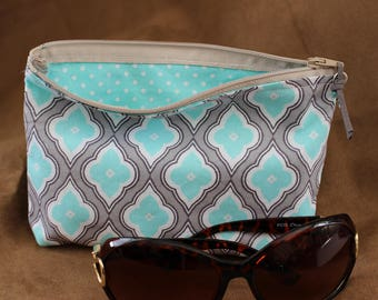 Makeup/Cosmetic Bag -  Gray/Aqua