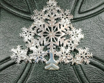 Very large Christmas tree snowflake,silver plated with clear rhinestones, Decoration, charm 8cm