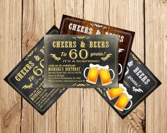 Surprise Cheers and beers birthday invitation, Beer Birthday Invitation, Beer birthday invitation, 60th birthday invitation for men
