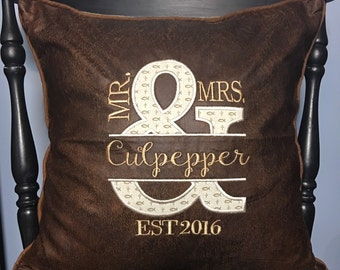 Mr & Mrs Faux Leather Pillow Cover