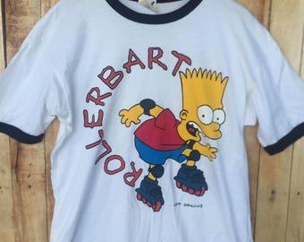 VINTAGE bart simpson ROLLER bart 80s 90s shirt