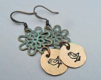 Bird Earrings- Hand Stamped Metal Earrings Handmade Earrings -  E 109