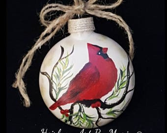 Christmas Ornament  Red Cardinal Unique Christmas Gift Glass Ornament Hand Painted Personalize Christmas Decoration Bird Customize