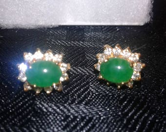 Green emerald looking earrings with crystals