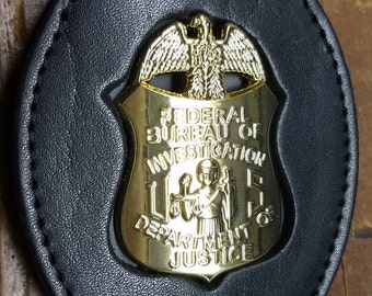 FBI Badge Cut-Out Large Leather Belt Clip (badge NOT included)